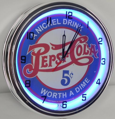 "PEPSI COLA - 5 CENTS WORTH A DIME 15"" NEON LIGHTED WALL CLOCK POP SHOP BAR VINTAGE STYLE GARAGE SIGN BLUE 0"