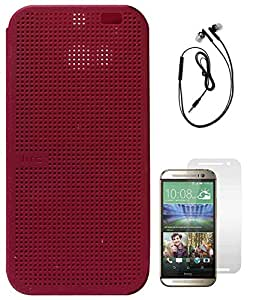 DMG Premium Dot View Flip Cover Case For HTC One M8 (Maroon) + Black Earphones + Matte Screen