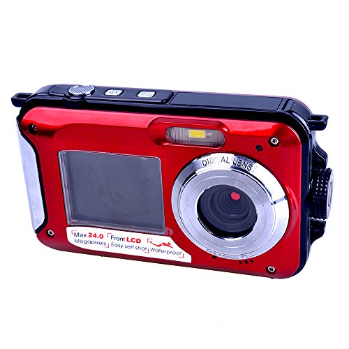 PYRUS Double Screens Waterproof Digital Camera 2.7 inch +1.8 inch Screens HD 1080P CMOS 16x Zoom Camcorder Mini Camera-Red