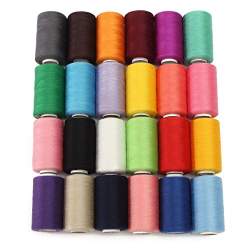 KINGSO 24 Assorted Colors Polyester Sewing Thread Spool 1000 Yards Each (Color Measurement compare prices)
