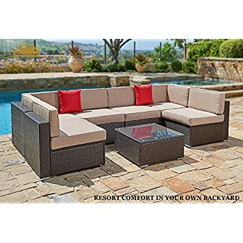 Suncrown Outdoor Furniture Sectional Sofa Set (7-Piece Set) All-Weather Brown Wicker with Brown Washable Seat Cushions & Modern Glass Coffee Table | Patio, Backyard, Pool | Incl. Waterproof Cover