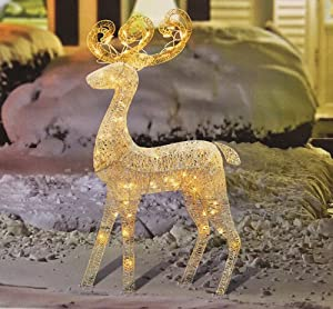 48 elegant glittered white reindeer lighted for Amazon christmas lawn decorations