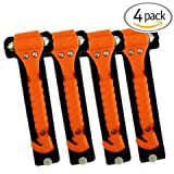 (4-Pack) Universal Emergency Hammer Window Punch &amp; Seat Belt Cutter for Automotive Safety