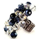 Hematite Colored Faceted Crystal Beads Stretch Ring