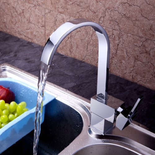 VDOMUS® Modern Copper Single Handle Bar Pull-Down Spray Head Kitchen Faucet,Waterfall Sink Faucet Water Tap,Chrome