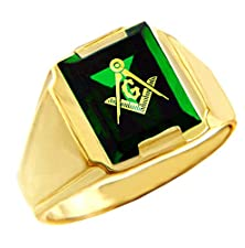 buy Men'S 10K Yellow Gold Freemason Green Stone Square And Compass Masonic Ring (Size 14)