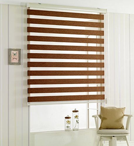 Custom Cut to Size , [Winsharp Woodlook , Mocha_brown , W 31 x H 72 (Inch)] Horizontal Window Shade Blind Zebra Dual Roller Blinds & Treatments , Maximum 91 Inch Wide by 103 Inch Long (Venetian Blinds Custom compare prices)