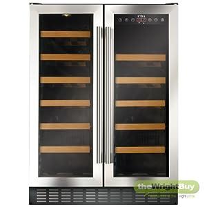 CDA FWC622SS 60cm Wide Freestanding/Under Counter Double Door Stainless Steel Wine Fridge