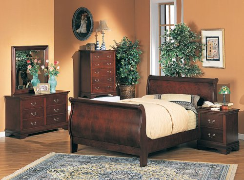 Louis Philippe Sleigh Twin Bedroom 5 pc set/including Mirror Set Rich Cherry Finish