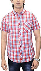 AA' Southbay Men's Orange & Blue Twill Checks 100% Premium Cotton Half Sleeve Casual Shirt