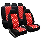FH-FB115115 Full Set Polka Dots Car Seat Covers for Car Van and SUV, Red / Black color- Fit Most Car, Truck, Suv, or Van
