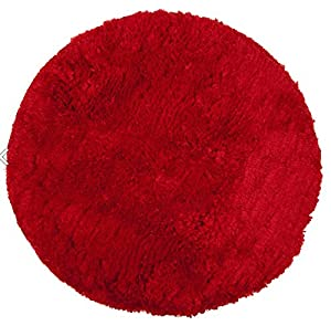 Washable 60Cm Round DEEP RED Shaggy Rug