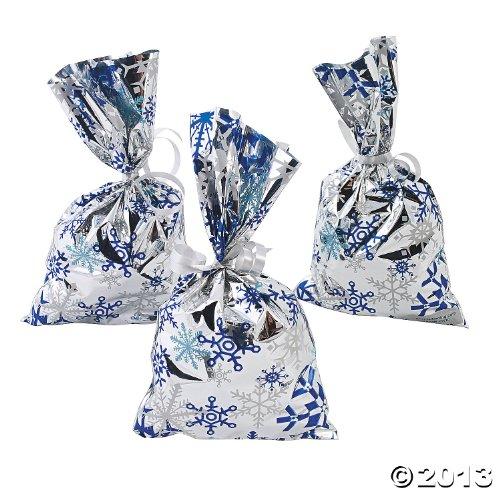 12 Mylar Metallic Snowflake Goody Bags
