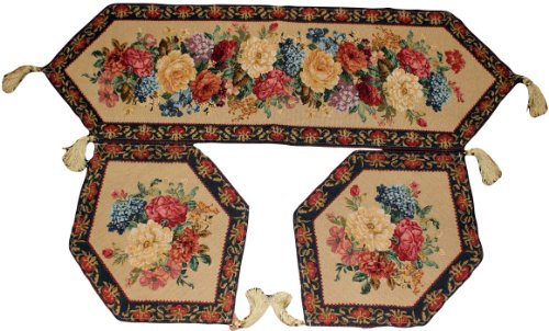 3 Piece Floral Tapestry Morning Awakenings Table Runner Set front-422410