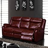Global Furniture Reclining Sofa, Burgundy