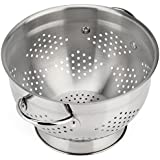 Raishi Classic Stainless Steel Deep Colander - 5 Quart High Grade Quality - Great for Straining and Serving Pasta or Spaghetti