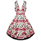 Hearts & Roses London Pink Floral Vintage 50s Party Prom Swing Flare Tea Dress