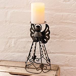 Celestial Angel Candle Holder with Flameless Candle and Auto Timer - 9""
