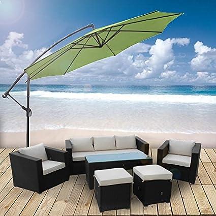 Anaelle Pandamoto Ensemble Table en Verre + 5 Chaises en Rotin PVC Moderne -Imperméable à l'eau -Résistant aux Rayons UV pour Jardin, Balcon, Terrasse, Poids: 65kg, Noir+Blanc