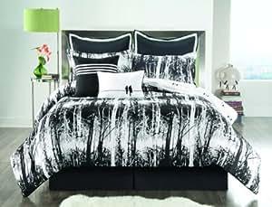 Sunset and Vine Woodland 8-Piece Full Comforter Set, Black/White