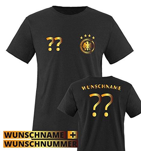 TRIKOT – DE – WUNSCHDRUCK – Kinder T-Shirt – Schwarz / Gold Gr. 110-116