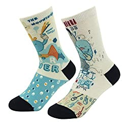 J'colour Boys' Funny Cartoon Patterned Gift Friendly Heavy Weight Knitted Socks 2-Pack