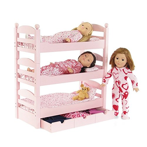 18 inch doll triple bunk bed stackable wooden furniture made to fit american ebay. Black Bedroom Furniture Sets. Home Design Ideas