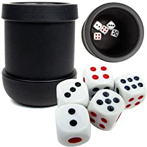 Trademark Poker Black Heavy Duty Dice Cup with 5 Dice
