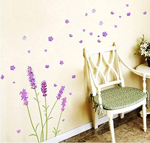 Ufengke romantici fiori viola di lavanda e farfalle - Parete viola camera da letto ...