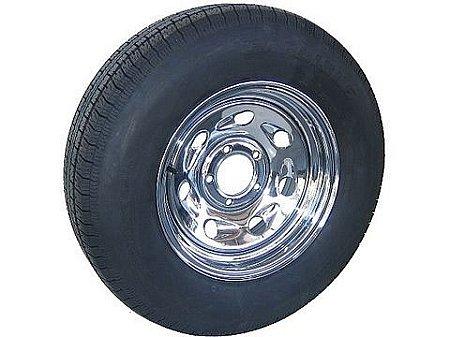Radial Trailer Tire On Rim ST205//75R15 LRC 5 Lug Chrome Modular Wheel w//Rivets