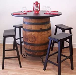 "White Oak Whiskey Barrel Table c/Stand-36"" Table top-(4) 29"" Bar Stools"