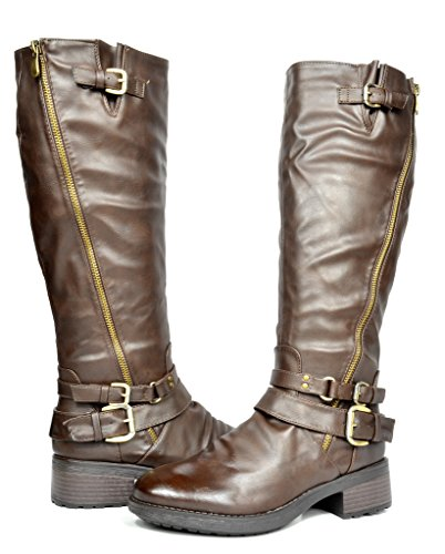 5946bdc23a1 DREAM PAIRS ATLANTA Women s Side Zipper Fur Lined Riding Boots (Wide Calf  Available)
