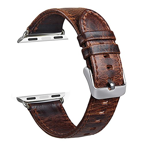 V-Moro Apple Watch leather Band, 42mm Genuine Leather iWatch Strap Vintage Crazy Horse Replacement Smart Watch wristband for for Apple Watch iWatch All Models (Vintage Crazy Horse-Coffee 42mm) 0