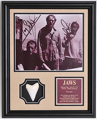 jaws-blockbuster-movie-cast-photo-framed-with-replica-great-white-shark-tooth