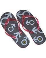 Mens Medium Black & Red Just Married Flip Flops (Size 8-10) - X41