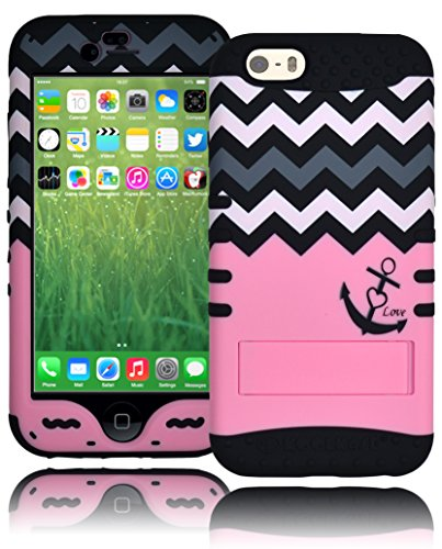 "Bastex Heavy Duty Three Piece Hard Snap Together Pink Case Cover With Grey And White Chevron Love Kickstand Anchor Design With Soft Black Silicone Shell For Apple Iphone 6, 4.7"" 6Th Generation front-894279"