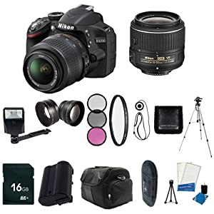Nikon D3200 24.2 MP CMOS Digital SLR with 18-55mm f/3.5-5.6 AF-S DX VR Lens (Black / Import) + EN-EL14 Replacement Li-on Battery  + 16GB SDHC Class 10 Memory Card + 52mm Wide Angle Lens + 52mm 2.2x Telephoto Lens + 52mm 3 Piece Filter Kit + 52mm UV Filter + Full Size Tripod + External Flash + Digital Carrying Case + SDHC Card USB Reader + 6pc Starter Kit  + Memory Card Wallet + Lens Cap Keeper + Bonus Nikon DVD! Bundle
