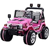 Kids 2 Seater 12v Electric / Battery Ride on Car / Wrangler Style Jeep 4X4 Pink