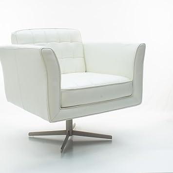 Ledersessel Bologna Weiß | Dreh-Sessel Leder-Sessel Retro-Sessel Edelstahl