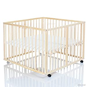 Wooden Baby Playpen 100x100 cm Niklas nature - base covered with PVC foil and height adjustable - 4 wheels by LCP Kids