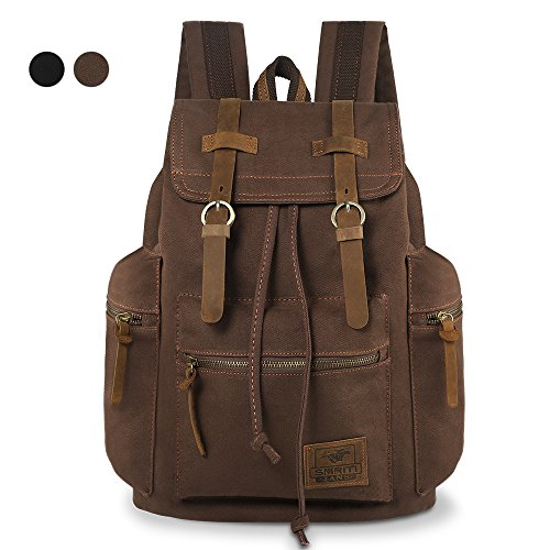 Smriti Vintage 14-inch Laptops Canvas Causual Backpack Rucksack – Coffee