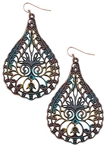 Large Boho Vintage Gypsy Style Patina Teardrop Decorative Filigree Dangle Earrings (Vintage Glamour Costumes)