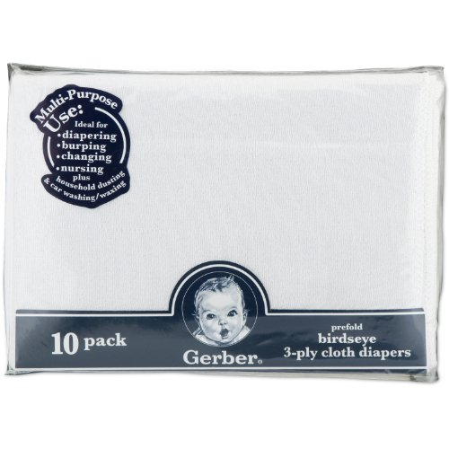 Gerber Birdseye 10 Count 3-Ply Prefold Cloth Diapers, White