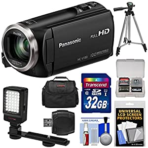 Panasonic HC-V180 HD Video Camera Camcorder with 32GB Card + Case + Tripod + LED Light + Reader + Kit