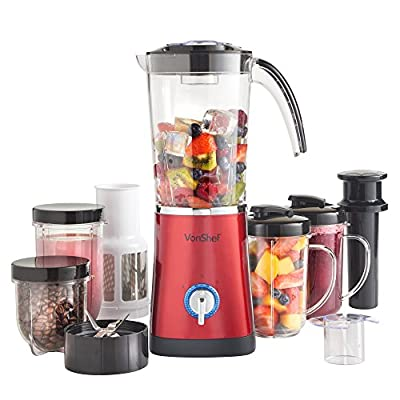 VonShef 4 in 1 Multifunctional Red 1L Smoothie Maker, Free 2 Year Warranty - 1.5 Litre Blender, Juicer & Grinder