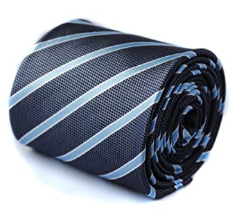 Frederick Thomas grey, light blue and white stripe tie with signature floral design to rear