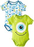 Disney Baby Boys Newborn Monster Inc. 2 Pack Bodysuit, Green, 3-6 Months