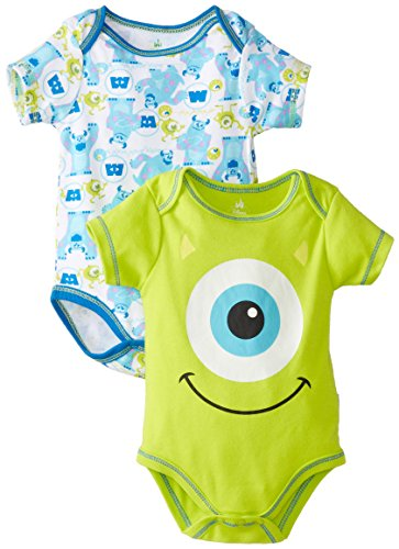 Disney Baby Boys Newborn Monster Inc. 2 Pack Bodysuit, Green, 0-3 Months front-661968