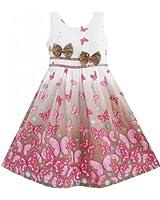 Sunny Fashion Robe Fille Brun Papillon Double Arc Attacher Partie