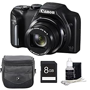Canon PowerShot SX170 IS 16.0 MP Digital Camera with 16x Optical Zoom and 720p HD Video (Black) Deluxe Bundle With DigPro 8GB High Speed Card , Digpro Deluxe Case, Deluxe Cleaning Kit